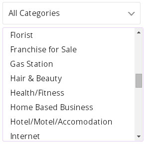 search to buy a business via category